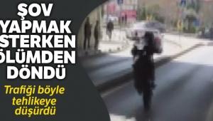 Bakırköy'de tek tekerlek üzerinde kalkış yapan motosikletlinin kazası kamerada