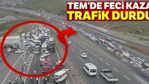 Kocaeli TEM'de zincirleme kaza trafik durdu