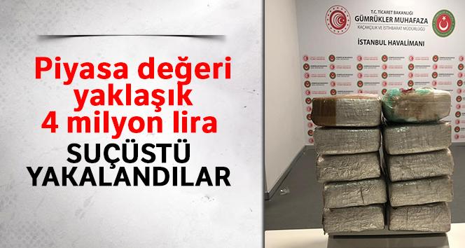İstanbul Havalimanı'nda piyasa değeri yaklaşık 4 milyon lira olan 13 kilo kokain ele geçirildi