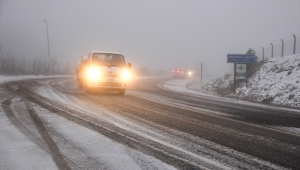 Kütahya'nın yüksek kesimlerinde kar yağışı etkili oldu