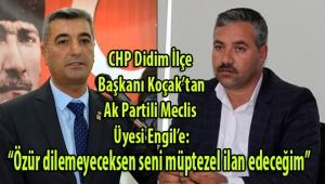 CHP Didim İlçe Başkanı Koçak, Ak Partili Meclis Üyesi Engil'e