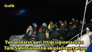 Yunanlıların geri ittiği sığınmacıları Türk Sahil Güvenlik ekipleri kurtarıyor