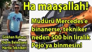 Didim Belediyesi İmar Müdürü Emine Öznur Gündoğdu'nun Harita Teknikeri Gökhan Kutucu'nun da altına 500 bin liralık Pejo Jeep çektiği ortaya çıktı!