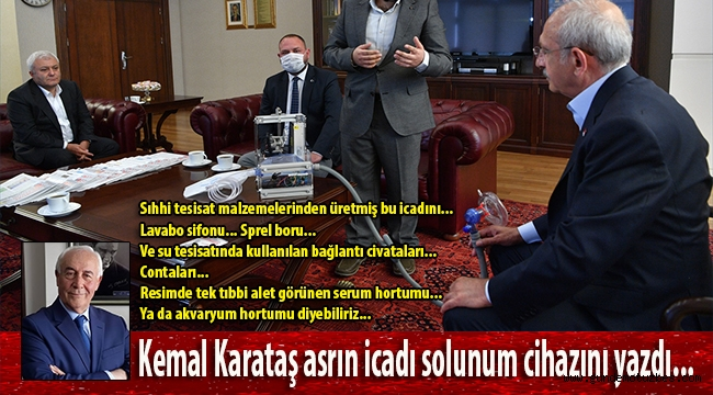 Kemal Karataş, başkan Utku Gümrükçü'nün asrın icadı solunum cihazını yazdı: Lavabo sifonu... Sprel boru... Sıhhi tesisat malzemelerinden üretmiş bu icadını...