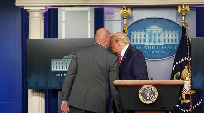 ABD Başkanı Trump, güvenlik ekibi tarafından basın toplantısı düzenlediği salondan çıkarıldı