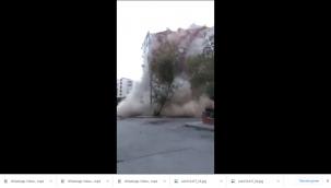 Bayraklı'daki apartmanın korkunç çöküşü (Video)