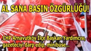 Al sana basın özgürlüğü! CHP Arnavutköy İlçe Başkan Yardımcısı Öztürk, gazeteci Saka'yı tehdit zorla minibüse bindirip kaldırmaya kalkıştı...
